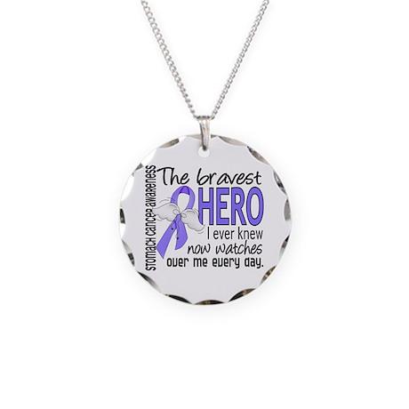 Bravest Hero I Knew Stomach Cancer Necklace Circle