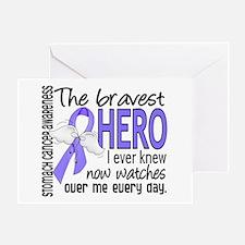 Bravest Hero I Knew Stomach Cancer Greeting Card