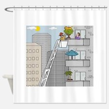 FIREMAN RESCUING CAT FROM A TREE CARTOON Shower Cu