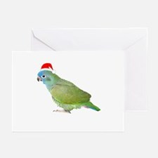 Blue Headed Pionus in Santa Hat Greeting Cards (Pa