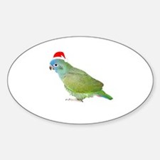 Blue Headed Pionus in Santa Hat Oval Decal