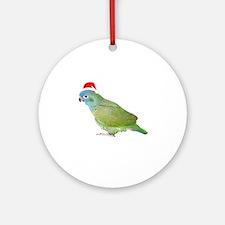 Blue Headed Pionus in Santa Hat Ornament (Round)