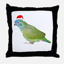 Blue Headed Pionus in Santa Hat Throw Pillow
