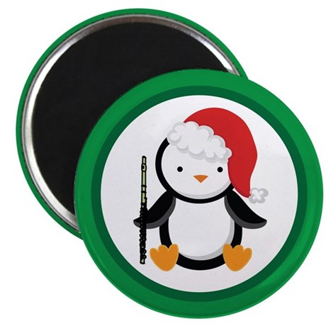 Christmas Flute Penguin Magnet