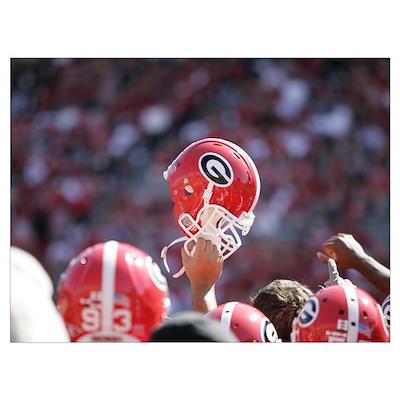 Georgia Football Helmet Raised High Poster