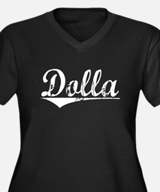 Dolla, Vintage Women's Plus Size V-Neck Dark T-Shi