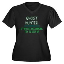 Ghost Hunter Women's Plus Size V-Neck Dark T-Shirt