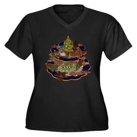 Decorated Ch Women's Plus Size V-Neck Dark T-Shirt