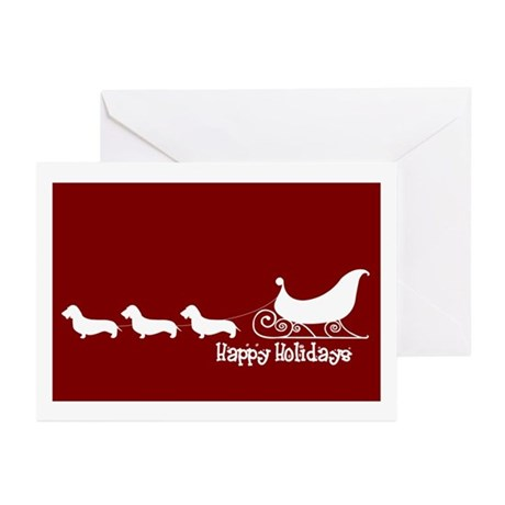 "W Doxie ""Sleigh"" Greeting Cards (Pk of 10)"