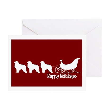 "Gr Pyrenees ""Sleigh"" Greeting Cards (Pk of 10)"