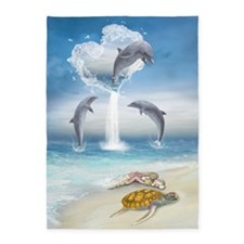 The Heart Of The Dolphins 5'x7'Area Rug