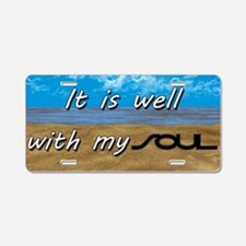 Well With My Soul Beach Aluminum License Plate