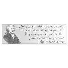 John Adams Moral and Religious Bumper Bumper Sticker