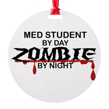 Med Student Zombie Round Ornament