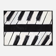 Contemporary Piano Keyboard 5'x7'Area Rug