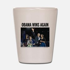 Obama Wins Again Shot Glass