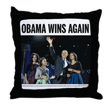 Obama Wins Again Throw Pillow
