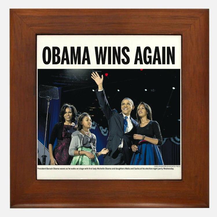 Obama Wins Again Framed Tile