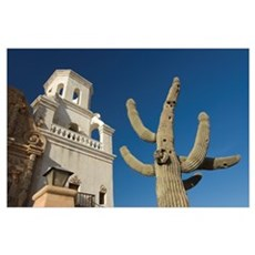 Sant xavier del bac mission with saguaro cactus in Poster