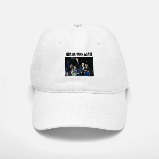 Obama wins again Baseball Baseball Cap