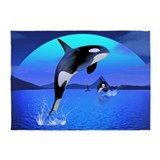 Wave whale rugs 5x7 Rugs