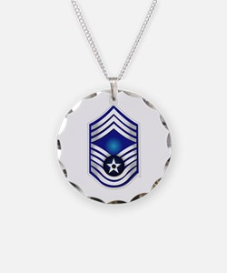 USAF - CMSgt(E9) - No Text Necklace Circle Charm