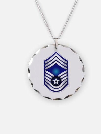 USAF - CMSgt(E9) - No Text Necklace Circle Charm