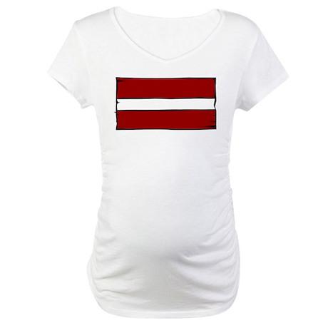 Latvia Flag Maternity T-Shirt