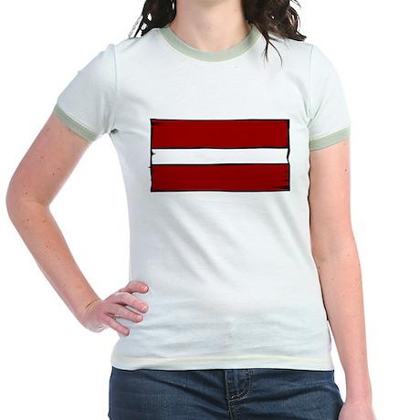 Latvia Flag Jr. Ringer T-Shirt