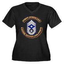 USAF - 1stSgt (E9) Women's Plus Size V-Neck Dark T
