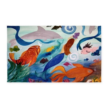 Mermaid Tropical Fish Party 3'X5' Area Rug