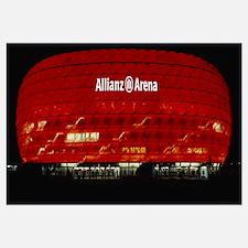 Soccer Stadium Lit Up At Night, Allianz Arena, Mun