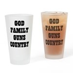 GOD FAMILY GUNS COUNTRY Drinking Glass