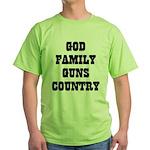 GOD FAMILY GUNS COUNTRY Green T-Shirt