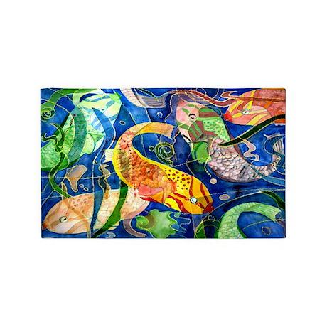 Tropical fish 3 39 x5 39 area rug by bythebeach for Fish area rug