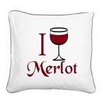 Merlot Drinker Square Canvas Pillow