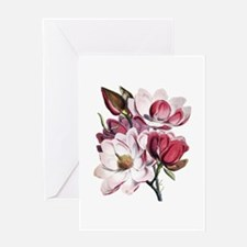 Pink Magnolia Flowers Greeting Card