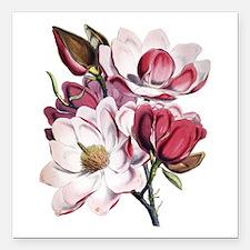 "Pink Magnolia Flowers Square Car Magnet 3"" x 3"""
