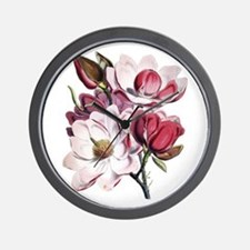 Pink Magnolia Flowers Wall Clock