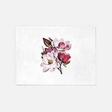 Pink Magnolia Flowers 5'x7'Area Rug