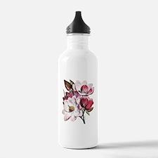 Pink Magnolia Flowers Water Bottle