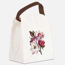 Pink Magnolia Flowers Canvas Lunch Bag
