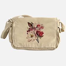Pink Magnolia Flowers Messenger Bag