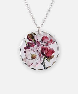 Pink Magnolia Flowers Necklace