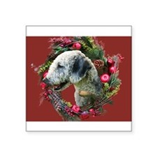 "Bedlington with Holiday Wreath Square Sticker 3"" x"