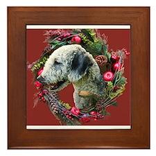 Bedlington with Holiday Wreath Framed Tile