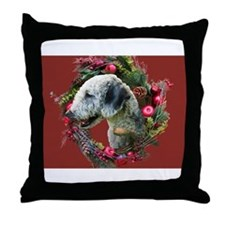 Bedlington with Holiday Wreath Throw Pillow