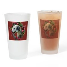 Bedlington with Holiday Wreath Drinking Glass