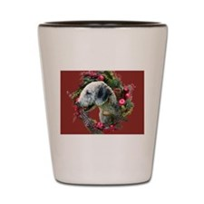 Bedlington with Holiday Wreath Shot Glass