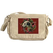 Bedlington with Holiday Wreath Messenger Bag
